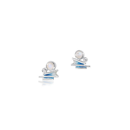 Moonlight stud earrings with moonstone