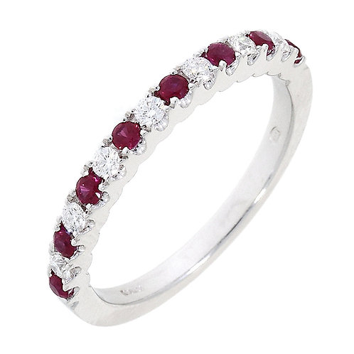 Ruby and Diamond 15stone eternity ring in 18ct white gold