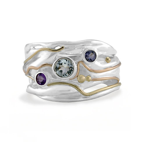 Blue Topaz, Amethyst and Iolite silver ring