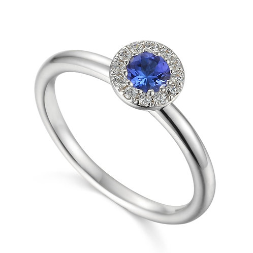 Tanzanite and Diamond halo white gold ring