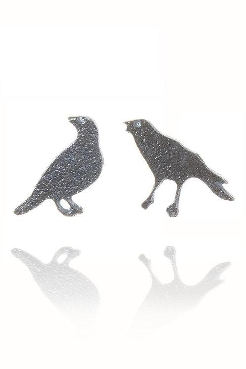 Raven oxidised stud earrings