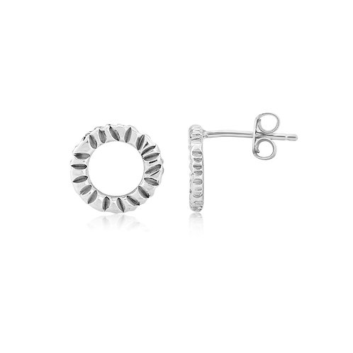 Round textured silver stud earrings