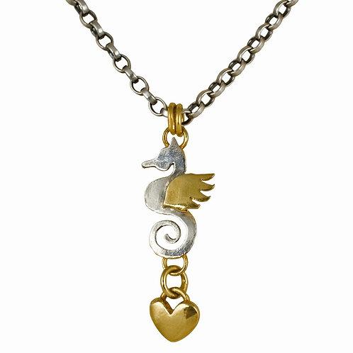Seahorse Heart drop necklace