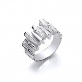 Silver steps ring