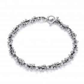 Peppercorn heavy oxidised silver necklace