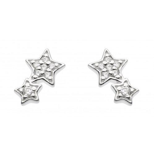 Double Star CZ silver stud earrings