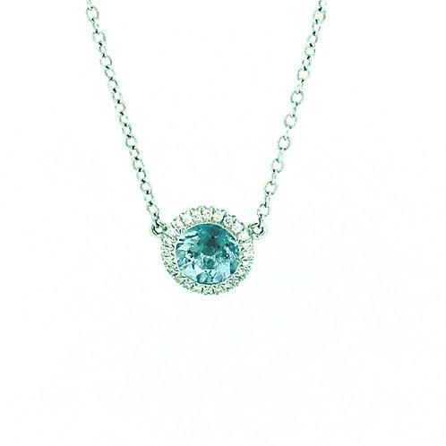 Aquamarine and Diamond halo white gold pendant
