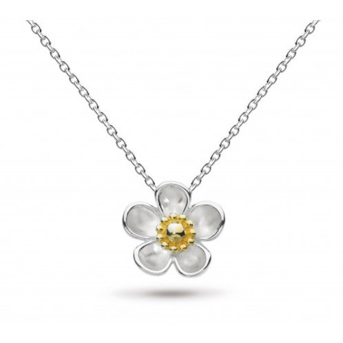 Blossom Wood Rose large gold-plated necklace