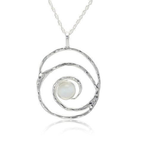 Moonstone Spiral silver pendant