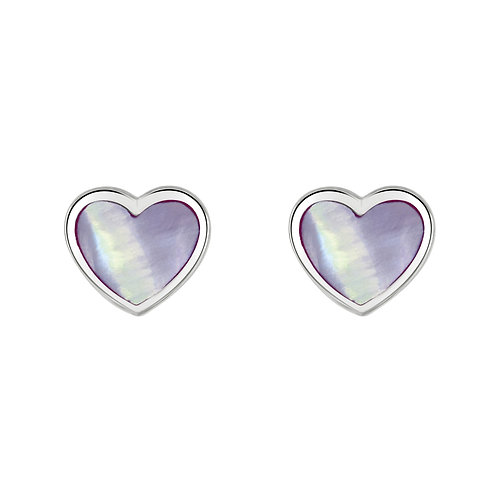 Dinky Lilac Mother-of-Pearl Heart stud earrings