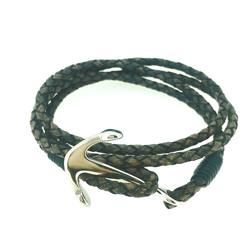 Antique Pacific Blue Leather bracelet with Anchor clasp