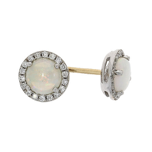 Opal and Diamond round cut cluster earrings