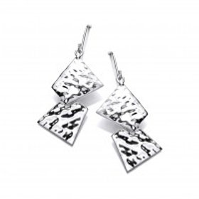 Geometric silver drop earrings