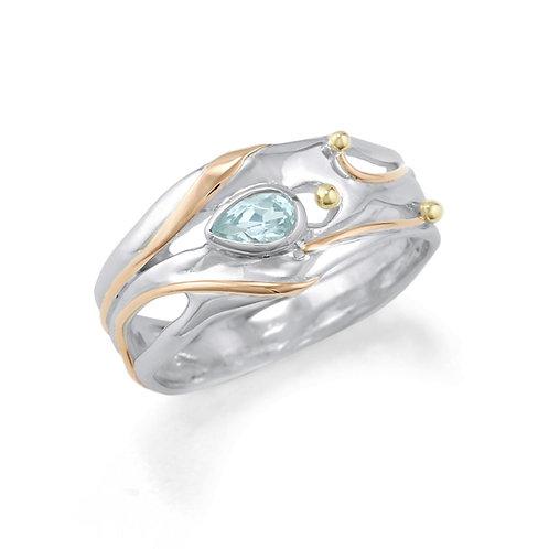 Organic blue topaz silver ring