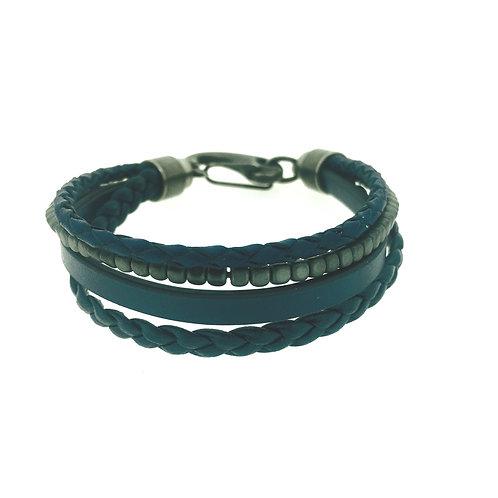 Blue leather and Hematite four strand bracelet