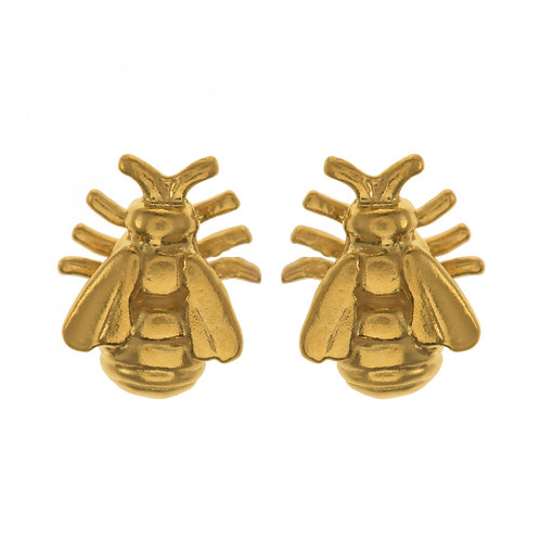 Yellow Gold plated silver bee stud earrings