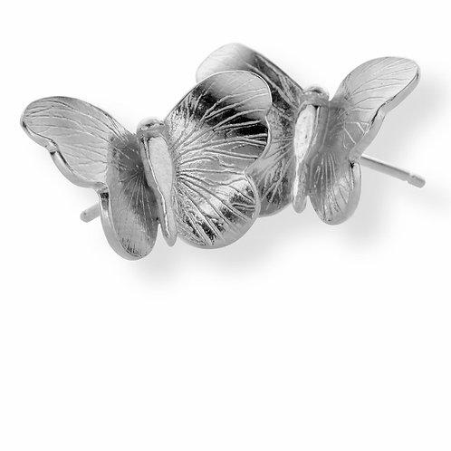 Enchanted small butterfly earrings - silver