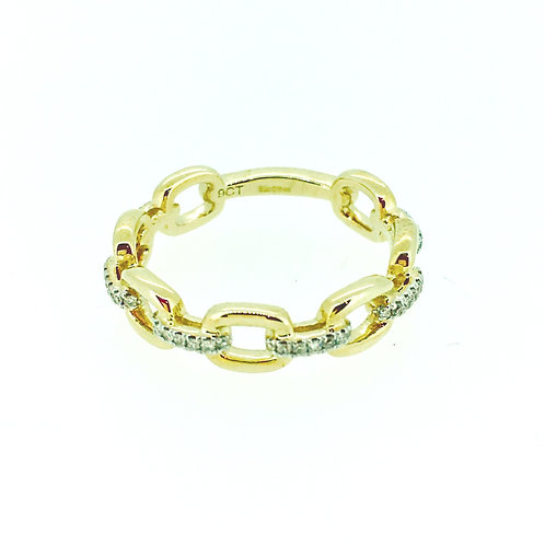 Diamond and Gold link ring