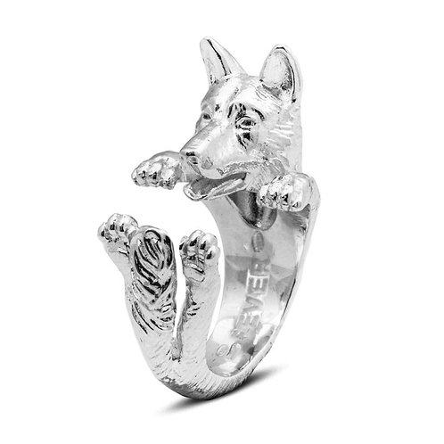 Silver German Shepherd hug ring