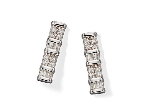 Diamond Baguette Bar White Gold stud earrings