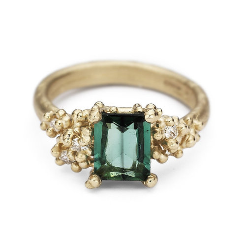 Tourmaline and Diamond ring with Granules