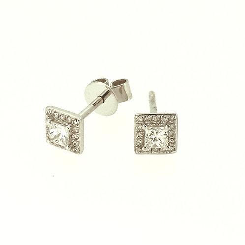 Diamond Square Halo stud earrings