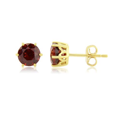 Garnet Yellow Gold stud earrings
