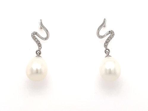 Freshwater Pearl and Diamond Swirl 18ct White Gold drop earrings