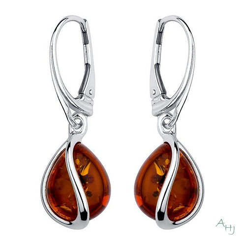 Amber pear shaped drop earrings with French fittings