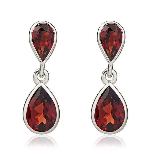 Garnet Pear Double Drop White Gold earrings