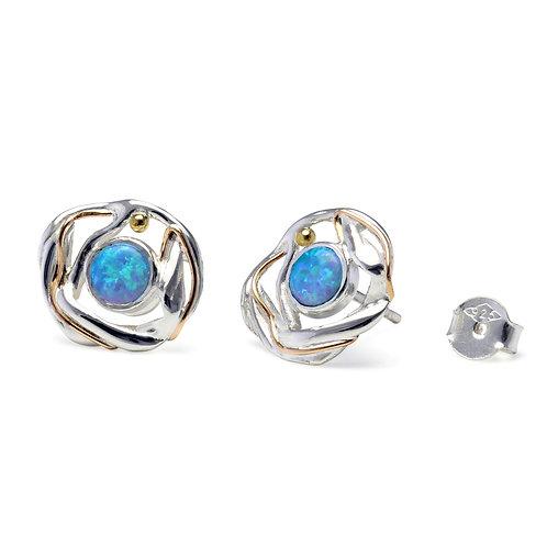 Blue Opalite Flowing silver stud earrings
