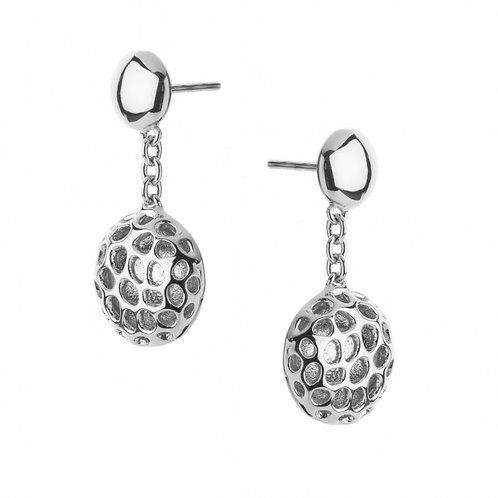 Memento disc silver drop earrings