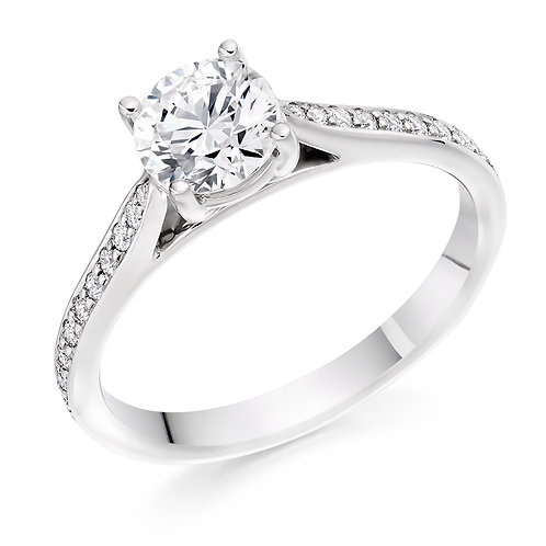 Round brilliant solitaire ring with diamond shoulders