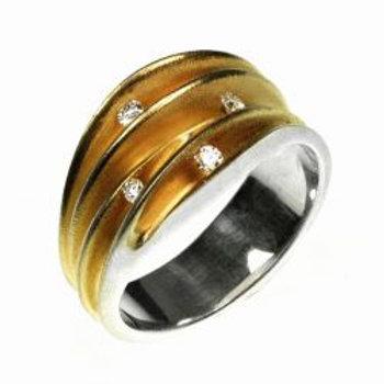 Multi-split 4 Diamond Shell ring