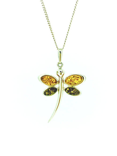 Mixed Amber and Silver Dragonfly pendant