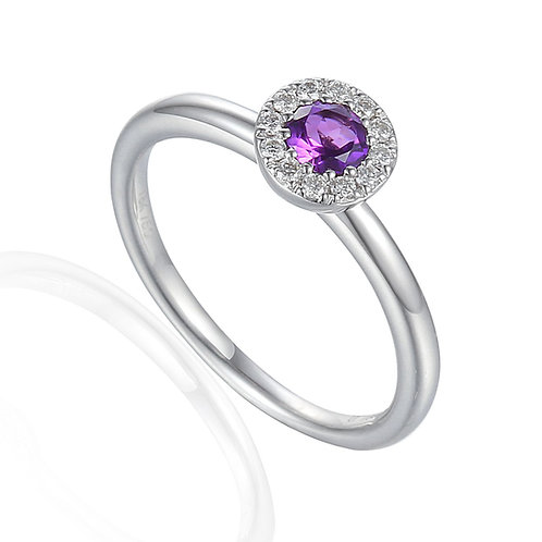 Amethyst and Diamond halo white gold ring
