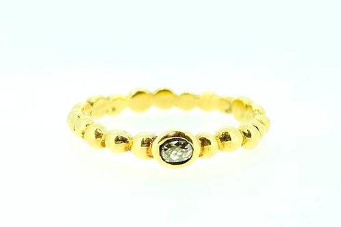 Grey Diamond gold beaded ring