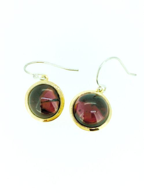Garnet large Gold plated silver drop earrings