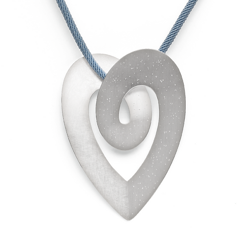 Large Heart silver pendant on snake chain