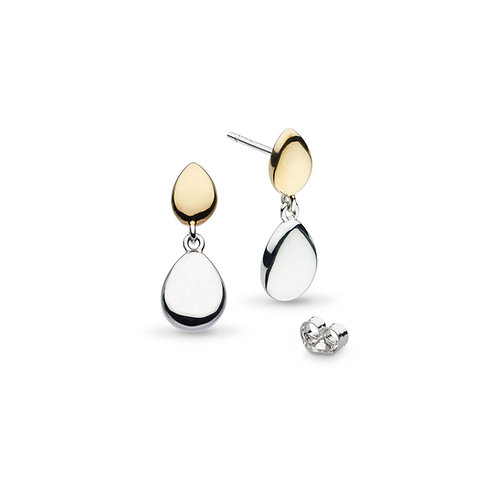 Coast Pebble Golden Gold plate Rhodium plated drop earrings