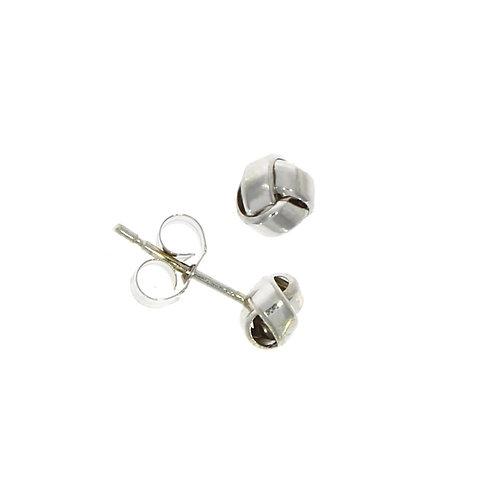 Small 3 row knot stud earrings