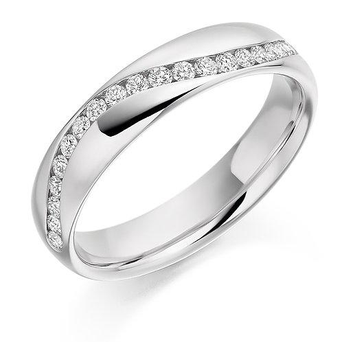 Curving off-set Diamond half Eternity ring