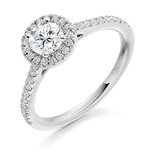 Round brilliant cut halo diamond ring