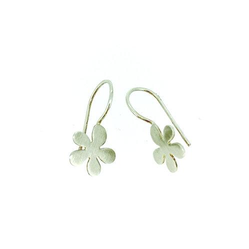 Daisy silver drop earrings