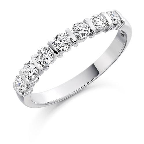 Bar set Diamond 0.5ct half Eternity ring