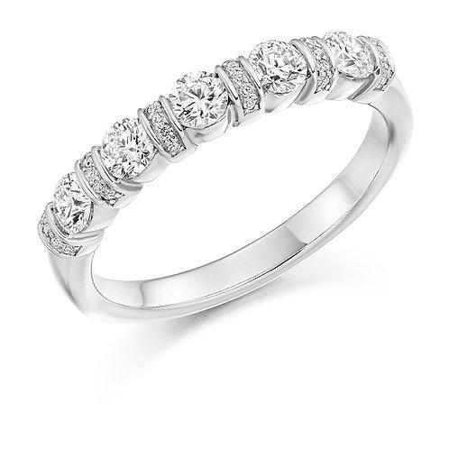Bar and Grain set Diamond half Eternity ring