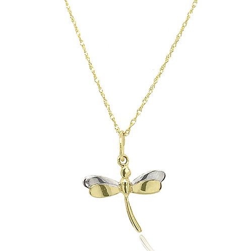 9ct Yellow and White Dragonfly Pendant