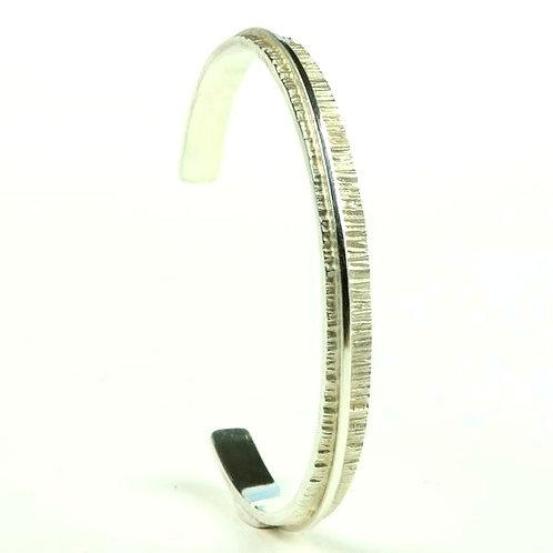 Silver linea narrow open bangle