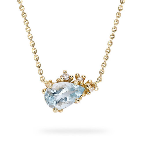 Aquamarine and Diamond Encrusted Gold necklace