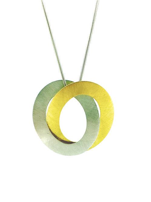 Large Bi-coloured Double Oval silver pendant